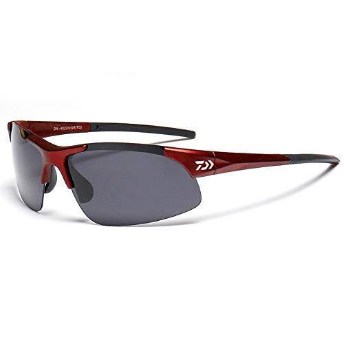 MINI SHOW Polarisierte Angelbrillen, spezielle Sonnenbrillen zum Beobachten von Schwimmern, Sportbrillen, UV-Schutz, klar polarisierte Angelbrillen, DAIWA, Retro-Brillenfassungen,Red
