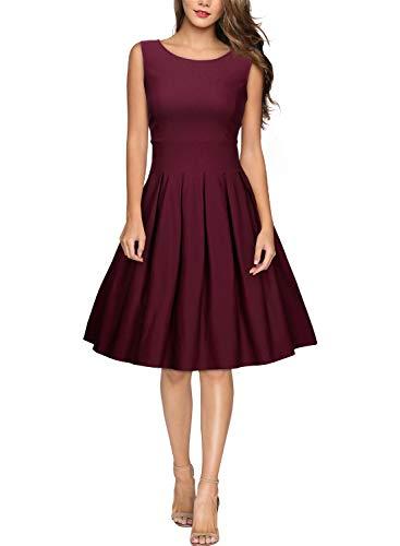 MIUSOL Damen Elegant Rundhals Traegerkleid 1950er Retro Cocktailkleid Faltenrock Kleid Weinrot S