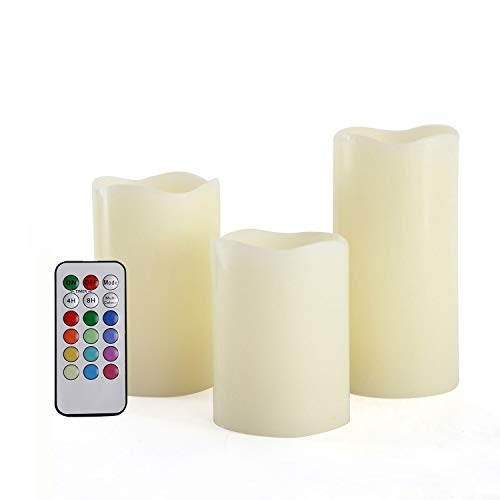 3 LED Kerzen mit Fernbedienung, Farbwechsel und Timer: Stimmungsvolle Echtwachs-Kerzen groß + weiß mit flackernder Flamme