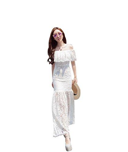 BOMOVO Damen Sommer Schulterfrei Lang Chiffon Celebrity Party Abendkleid Maxi Kleid Weiß