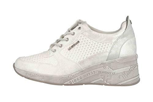 MUSTANG Damen 1319-303-121 Sneaker, Weiß/Silber 121, 42 EU