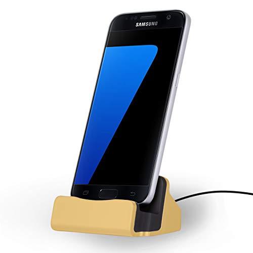 NessKa Dockingstation [ inkl. 2 Meter Kabel ] Desktop Tisch Ladestation Ladegerät Dock Ständer für Smartphones mit [Micro-USB] Anschluss Samsung Galaxy/Sony Xperia/Huawei/HTC/LG/Nokia | Gold