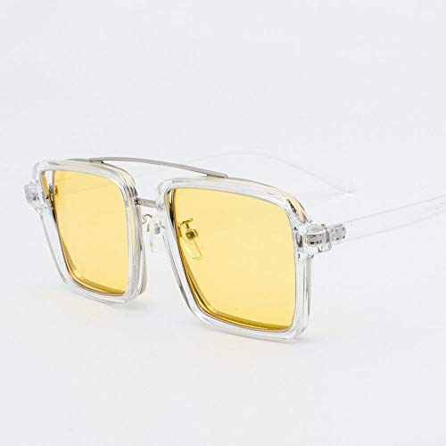 BAACHANG Fashion Square Flat Lens Glasses Large Glasses Frame für Frauen (Farbe : Clear/Yellow)