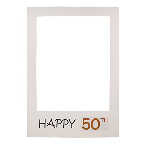 Blesiya Photo Booth Di Carta Cornice Per Selfie Photos Frame Foto Prop Accessori Anniversario Compleanno 40 50 - 50th