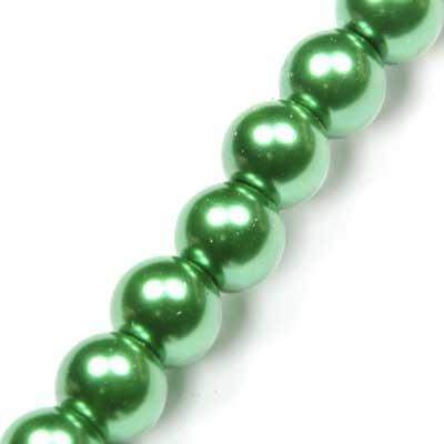 Perles rondes nacrées 8mm vert pomme