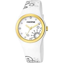 Calypso Damen Quarzuhr mit weißem Zifferblatt Analog-Anzeige und Weiß Kunststoff Gurt k5631/2