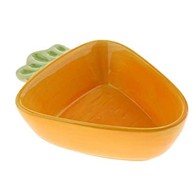 2pcs No-Tip Ceramic Rabbit Food Bowl Feeder for Guinea Pig Hamster Chinchilla Squirrel (Big Carrot) AOD from unbekannt