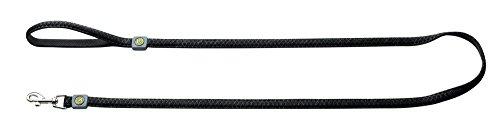 HUNTER MANOA Führleine für Hunde, Mesh-Material, weich, gepolstert, Handschlaufe, 2,5 x 120 cm, schwarz Mesh-material