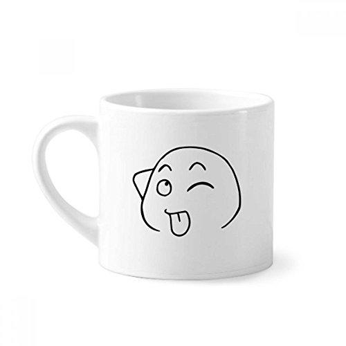 e Zunge heraus Schwarz Emoji-Muster-Minikaffeetasse Weiße Keramik Keramik-Schale mit Griff 6 Unzen Geschenk Mehrfarbig ()