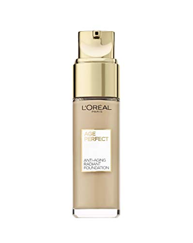 L'Oréal Paris Age Perfect Feuchtigkeitsspendendes Make-up in Nr. 130 ivoire dore, für reife Haut und einen strahlenden Teint, mit LSF 17, 30 ml (Für Strahlende Haut)
