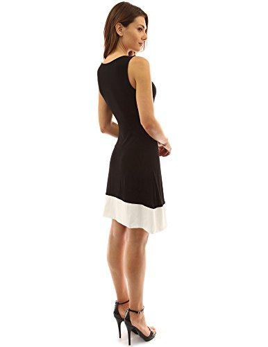 PattyBoutik Damen Blockfarbe ärmelloses Wickelkleid mit V-Ausschnitt Schwarz und Elfenbein