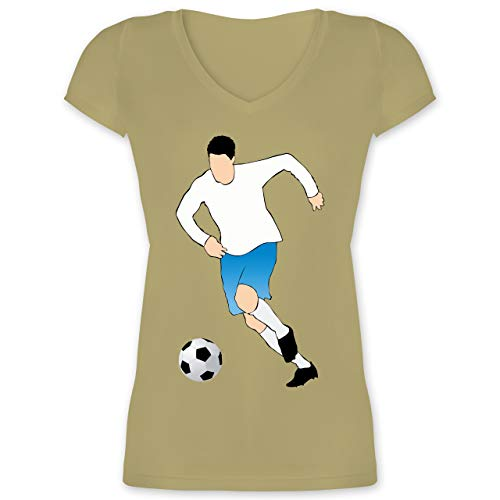 Fußball - Fußballspieler Ballbesitz Angriff Tor - XS - Olivgrün - XO1525 - Damen T-Shirt mit V-Ausschnitt -