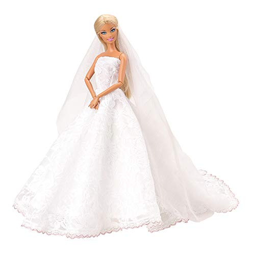 Miunana Brautkleid Spitze Kleidung Kleider Abendkleid mit Brautschleier Hochzeitskleid für Barbie...