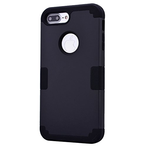 Coque iPhone 7 Plus, Etui iPhone 7 Plus Tough Armor, GrandEver Full Body Back Cover 3in1 Defender Housse Silicone Souple + Hard Plastique Etui Cases Heavy Duty Protection Dual Layer Protective Housse  Noir