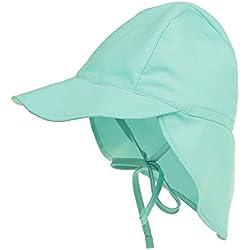 LACOFIA Sombrero de Playa de protección Solar para bebé Gorro de Verano de Solapa Ajustable Super Suave para niños Azul Cielo 6-18 Meses