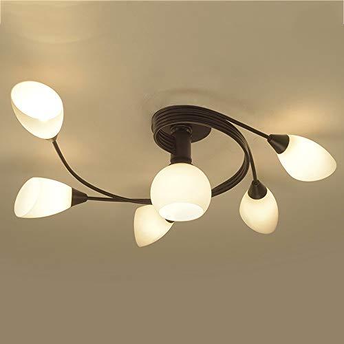 LCTCDD E27 Moderne LED Deckenleuchte Petal Lampe Glasschirm Wohnzimmer Licht im Schlafzimmer Restaurant kreative Schmiedeeisen Kinder Lampen Beleuchtung (größe : 5+1) -