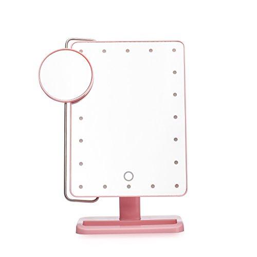 Mufly - Espejo de Maquillaje con luz led 10 aumentos, 180 Grados de Rotación Ajustable Espejo Cosmétic para Maquillaje Cosmético, Afeitado,Dormitorio,Baño-Rosa