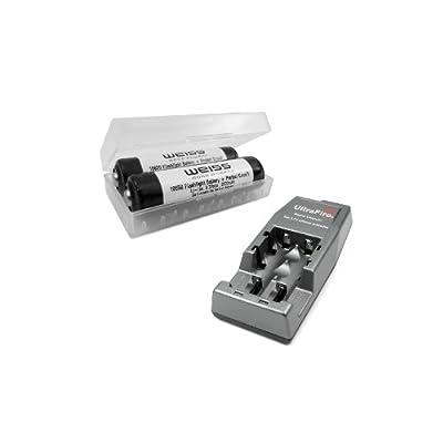 Weiss / UltraFire 2-er-Pack Li-Ion 18650 Akku (Cells by Sanyo) in Box + UltraFire WF-139 - 12/230V Schnellladegerät 400663 von Weiss / UltraFire auf Lampenhans.de