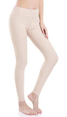 Wirezoll Damen Leggings Blinkdicht Yoga Leggings Fitnesshose, Beige, S (DE Konfektionsgröße 36) -