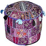 dien Boden Baumwolle osmanischen mit Patchwork und Stickerei Arbeit Hocker Cover indischen Handwerk nur Bezug ohne Einsatz (lila, 55,9cm) (Halloween-gäste-handtücher)