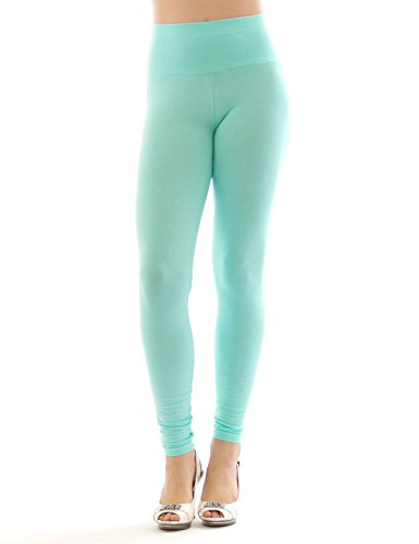 Donne Pantacollant Lungo Alto Federazione Di Cotone Opaco Pantaloni Lavanderia acquamarina