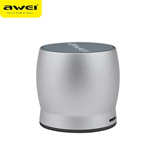 Enceintes Portables Bluetooth,AIni AWEI Mini Haut-Parleur StéRéO Sans Fil Bluetooth Carte Subwoofer TF ExtéRieur-Sans Fil Musique(10CM*10CM*8CM,Argent)