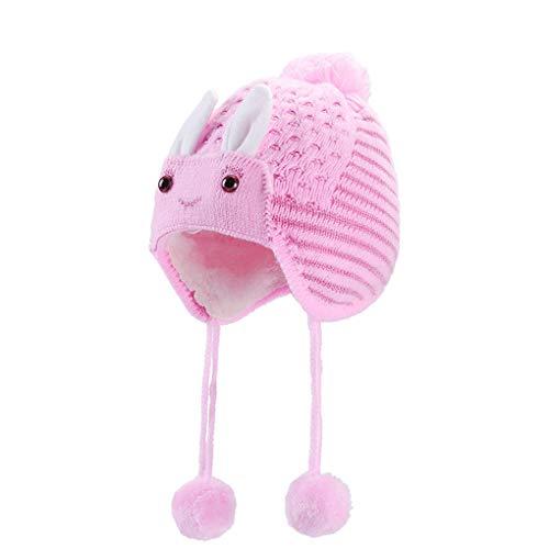 Lidahaotin Herbst-Winter-Baby-Kaninchen-Beanie Baby Neugeborenes Kleinkind-Pom Pom-Ball-Hut Häschen-Ohr-Earmuff Streifen-Hut-Kappe Rosa