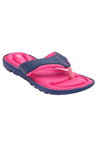 Dunlop Donna Infradito Nuovo Donna Memory Foam Sandali Infradito Slip On Sandali da Spiaggia - Navy - Fucsia, 39