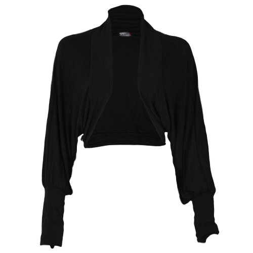 Shrug pipistrello da donna a maniche lunghe, da donna, in Jersey, Cardigan Top Bolero 36-42 Black