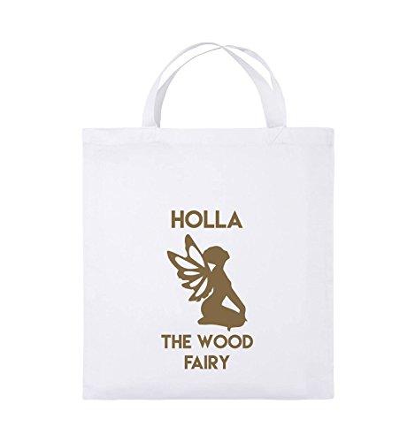 Comedy Bags - HOLLA THE WOOD FAIRY - Jutebeutel - kurze Henkel - 38x42cm - Farbe: Schwarz / Weiss Weiss / Hellbraun