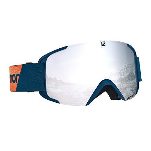 Salomon Unisex Xview Skibrille, für verschiedenste Wetterverhältnisse, weiße Multilayer-Scheibe (auswechselbar), Airflow System, blau (Marrocan Blue), L40519100