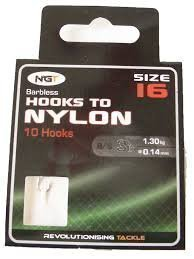 Coarse Fishing Pack Of 10 Barbless Hooks To Nylon size 16 Barbless