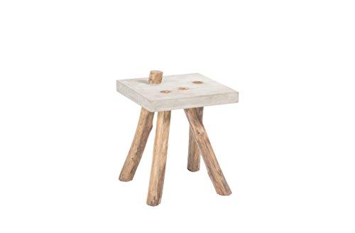 Pirouette Paris - Table d'Appoint en Béton Pied en Bois de Teck Ø 40 x 40 x 51 cm