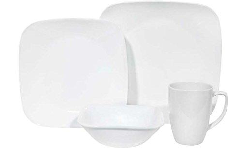Corelle Geschirr-Set Pure White aus Vitrelle-Glas für 4 Personen 16-teilig, Splitter- und bruchfest, weiß