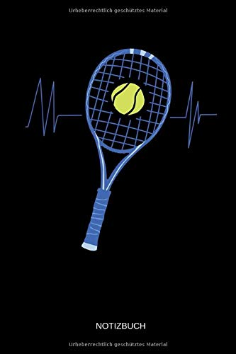 Notizbuch: Tennisschläger und Tennisball Herzschlag - Lustiges Tennis Notizbuch. Tennis Zubehör & - Tennisschläger Griffbänder
