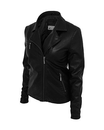 Urban Classics Ladies Biker Jacket black Abbildung 3