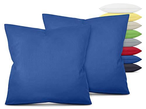 Unifarbene Kissenbezüge im Doppelpack - in 8 Farben und 3 Größen - Moderne Wohndekoration in dezentem Design, ca. 80 x 80 cm, blau