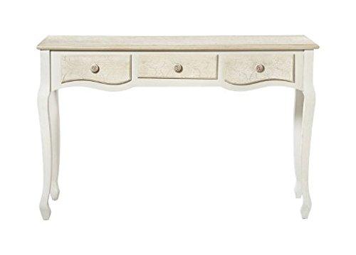Consolle bianca e avorio a tre cassetti in legno con intarsi stile vintage L'ARTE DI NACCHI DS-40