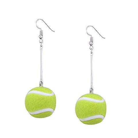 TIFIY Frauen Sport Fans Stil Tennis Ball Fußball Badminton Ball Hook Ohrring Eardrop baumeln Ohrringe Sport Geschenk (Grüner (Grün Harz Kreuz)