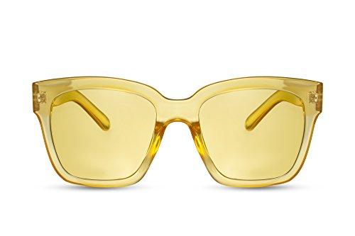 Cheapass Damen Sonnenbrille XXL Groß-e Gläser Gelb-e Brille Frauen Mädchen