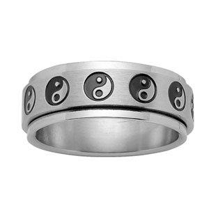 1001 Bijoux - Alliance acier anti-stress motifs Ying-Yang - tour de doigt 56
