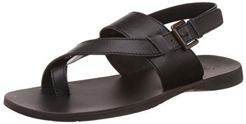 United Colors of Benetton Men's Black902 Leather Sandals and Floaters - 10...