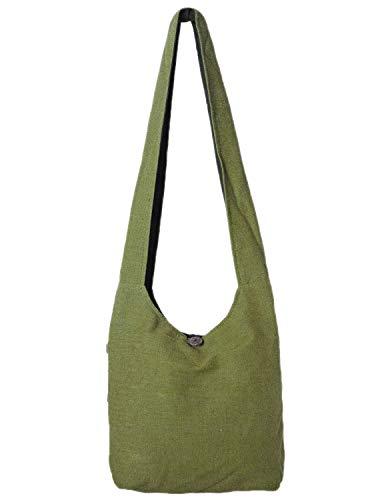 Vishes - Stoff Shopper Stofftasche Einkaufstasche Umhängetasche große Beuteltasche Schultertasche - Damen Herren Olive -