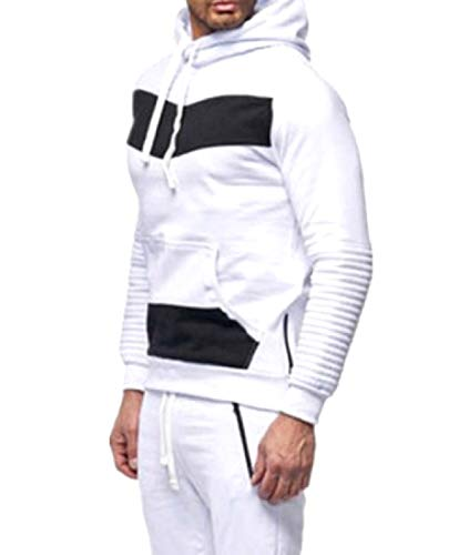 CuteRose Mens Pockets Classic Contrast Plus Size Comfort Hooded Sweatshirt White L -
