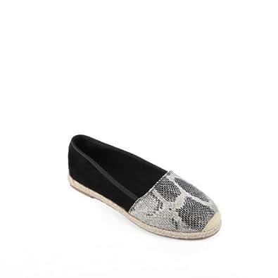 Ideal Shoes - Espadrilles imprimés reptile Adela Noir 37