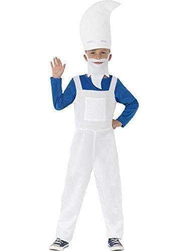 Jungen Schlumpf Gartenzwerg Tv Zeichentrickserie Buch Tag Film Kostüm Kleid Outfit - Weiß, 4-6 (Schlümpfe Kostüme Jungen)