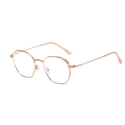 HHL Nicht Verschreibungspflichtige Anti-Blue-Light-Brillen (Polygon-Metallrahmen Schützen Augen) , Brillen Lesen , Männer/Frauen (Farbe : Roségold)