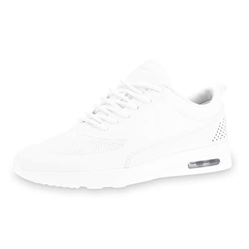 Marimo Unisex Damen Herren Turnschuhe Schnür Sneaker Fitness Laufschuhe Sportschuhe mit gedämpfter Sohle Weiß 39