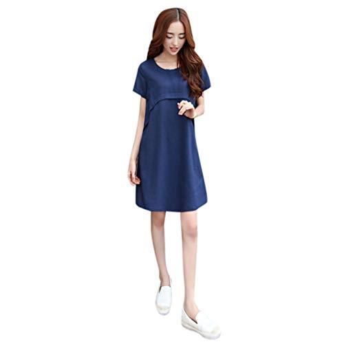 Pingtr - Damen Kurzärmliges Kleid aus Baumwolle aus Leinen - Frauen Baumwolle Leinen Oansatz Solide Dünne Kurzarm Lose Taille Plus Size...