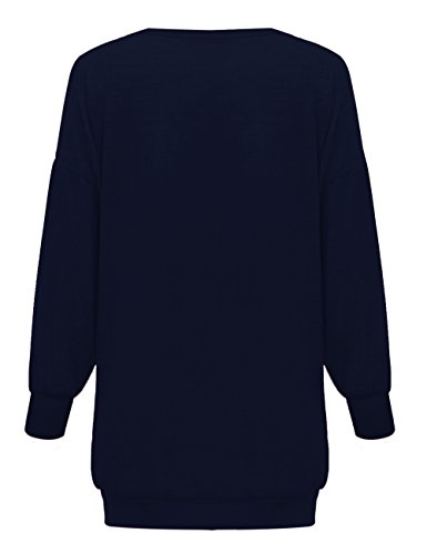 Yidarton Damen Langarm Oberteile V-Ausschnitt Lose Oversize Lang Sweatshirt Pullover Tops Marine